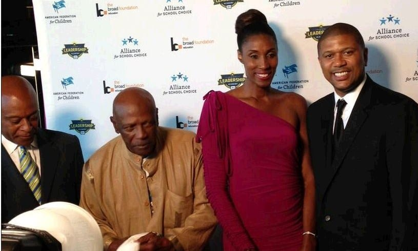 On the red carpet were: Kevin P. Chavous; Lou Gossett Jr.; Lisa Leslie, and Jalen Rose. Event  co-sponsors included the American Federation for Children, the Alliance for School Choice, the Broad Foundation, and the Jalen Rose Leadership Academy. (Photo: AFC)